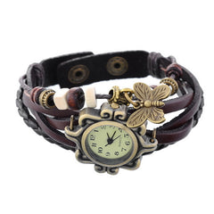 Doreen Box PU Leather Quartz Wrist Watch Vintage Bronze Bracelet Style Cute Butterfly Drop Battery Included 21cm long 1 Piece