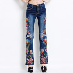 Women Embroidered Beaded Jeans Rhinestone Bell Bottom Flared Pants Elasticity Luxury Sexy Ladies High Waist Push Up Female Jeans