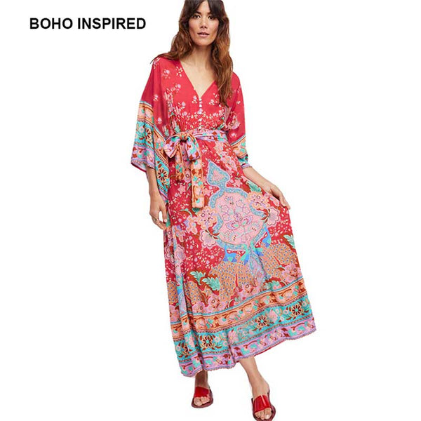 ad1c4e8f3a998 BOHO INSPIRED kimono dress floral print buttons front V-neck sashes wrap  summer dresses red vintage long women maxi dress 2018