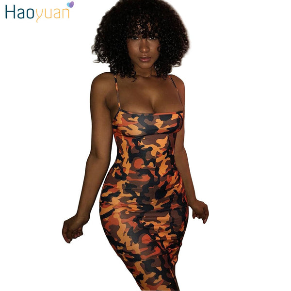 3394ba6a52ee HAOYUAN Camouflage Plus Size Sexy Dress 2018 Summer Off Shoulder Mini