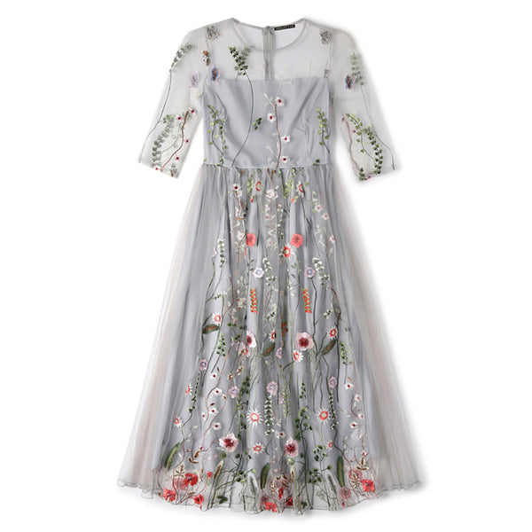 Gorgeous Half Sleeves Sheer Mesh flower grass Embroidery Boho Bohemian Long Dress Brand Style Evening Party Dresses Vestidos