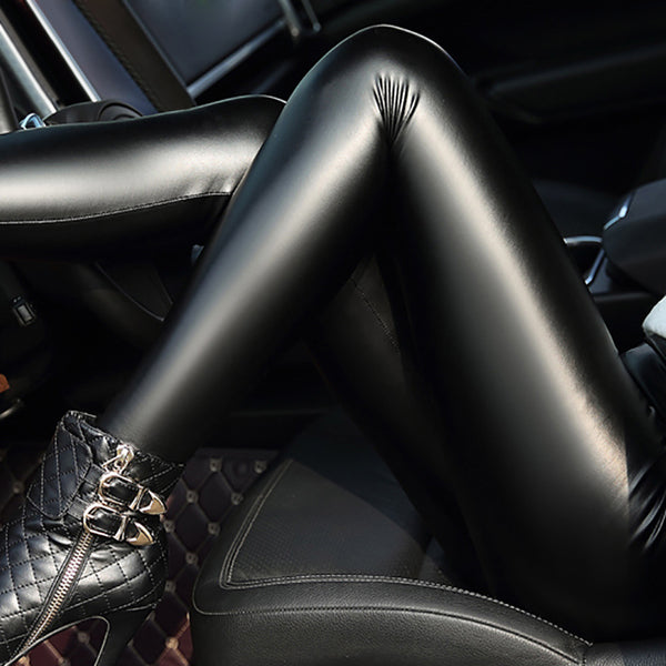 507e58c794aaf 2017 New Winter Womens Sexy Thickening PU Leather Leggings Skinny Stre