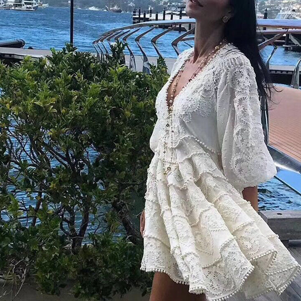 Designer Boutique Dress Women High Quality Stunning Sexy V-neck Puff Sleeve Embroidery Crochet Holiday White Linen Dress 2018