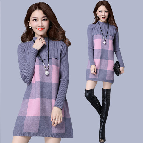 2018 Autumn Winter Women Pullover Sweater Dress Female Long Sleeve O-neck  Cashmere Plaid Dot 6ab9ba813