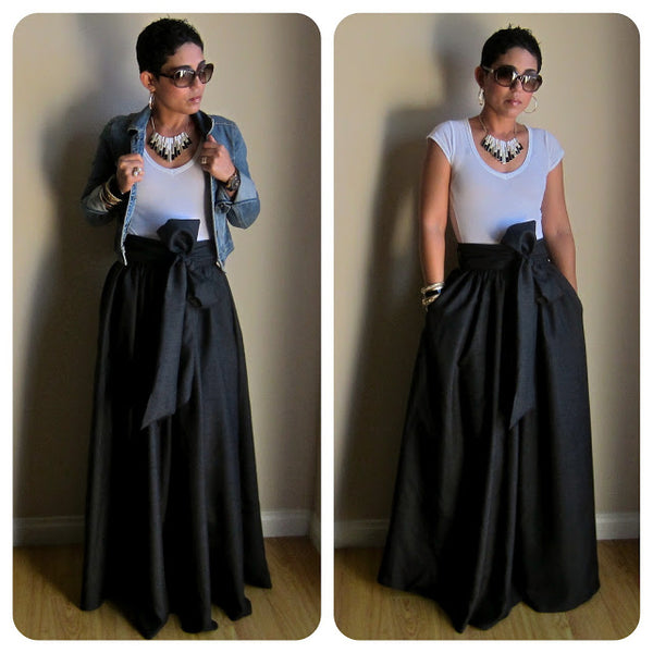 WBCTW Vintage Black Yellow Solid Cotton Bow Belt Maxi Skirts Womens 20