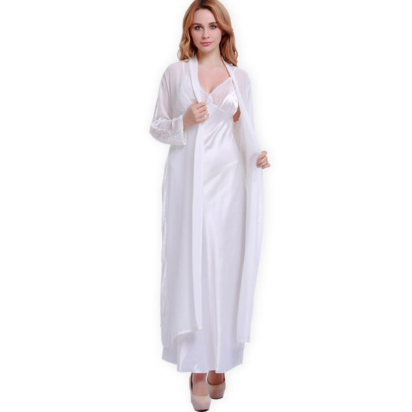Fashion Silk Sleeping Robes Female Elegant Faux Silk Sleepwear Women N f0d244718