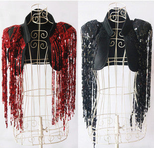 ds performance costume jazz singer jacket fashion sequins shawl sequined tassel jacket Stage performance clothing