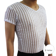 Popular Latin Dance Shirt For Male White Color Strip Tops  Men Adult Professional Ballroom Foxtrot Salsa Exhibition Wears Q7040