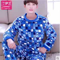 Pyjamas Men 2017 Fall Winter Thicken Flannel Mens Pajama Set O-Neck Coral Fleece Sleepwear Male Nightwear Homewear Pijama Hombre