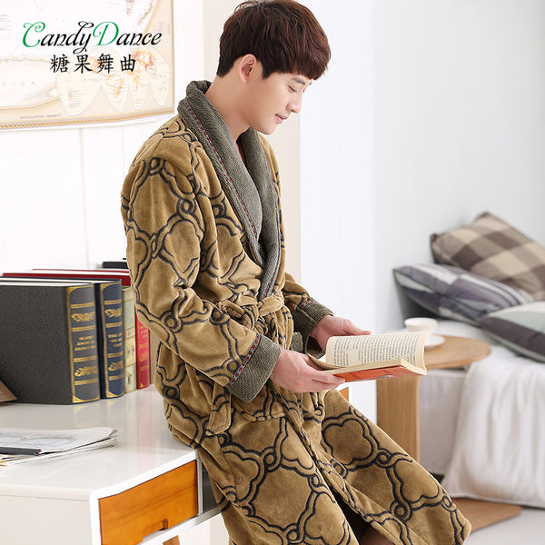 2017 autumn and winter long-sleeve flannel robe male plus size sleepwear thickening coral fleece robe bathrobes