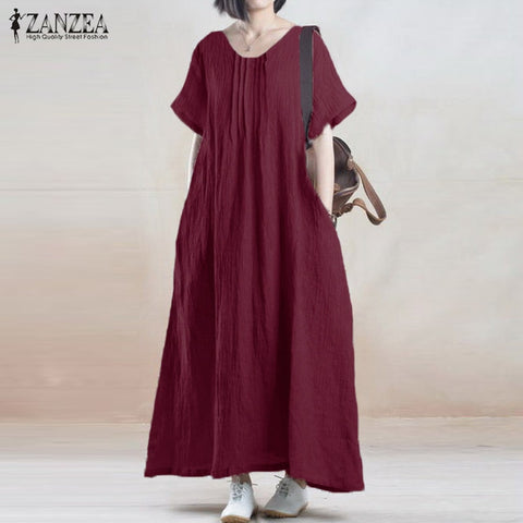 d3facf7263ee50 ZANZEA Summer Dress 2018 Women Vintage Casual Loose Party Robe Long Maxi  Dresses Short Sleeve O