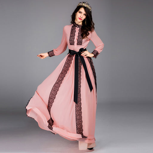 Elegant Charming Dresses 2017 Spring Women Full Sleeve Pink   White Hot  Sale Fashion Lace Patchwork 70a8fd96d816