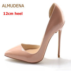 34e24e8f0760 ... ALMUDENA Sexy Pointed Toe Shallow Stiletto Heels Women Nude Patent  Leather Dress Pumps Shoes Celebrity T