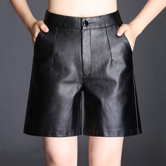 PU Leather Midi Shorts Women Slim High Waist Wide Leg Short Pants Autumn Winter Fashion Black Boot Cut High Waist Shorts Big 4XL