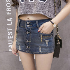 2018 New Arrival Hot Sale All-Match Fashion Denim Shorts For Women Slim Fit Personalized Jeans Shorts Skirts Hole Ripped Clothes