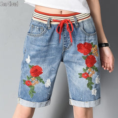 82 Free shipping Elastic waist hole denim short trousers women loose summer shorts embroidered flowers jeans woman