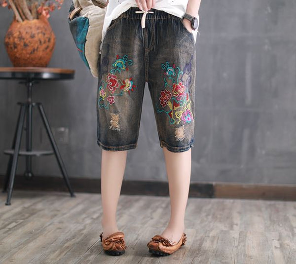2018 Special Offer Shorts Women New Mens Ripped Short Jeans Embroidery Brand Clothing Summer Cotton Shorts Breathable Female