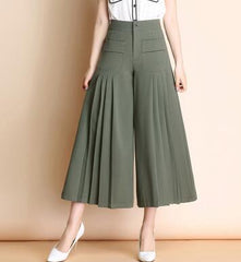 Wide leg pants for women plus size black green high waist casual capris new fashion summer spring autumn trousers female yfq0707