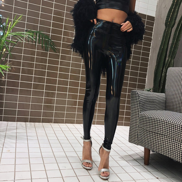 2018 Spring New Patent Leather Bright Gradient Color Sexy Wild Body Bag Hip Plus Velvet High Waist Black Leggings Female
