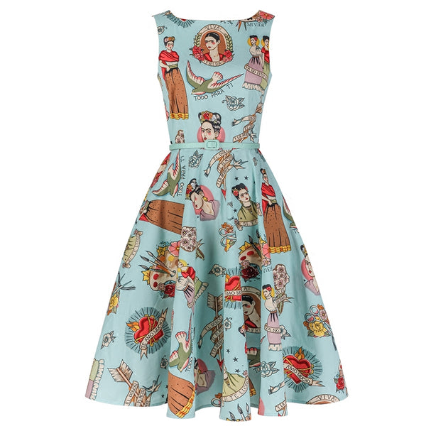 Custom Made Women Vintage 50s Blue Ti Amo Frida Kahlo Frock Rockabilly