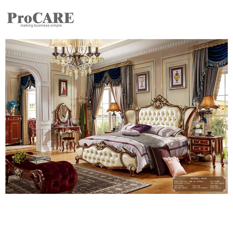 Top Quality Home Furniture Carved Bed Room Set Solid Wood