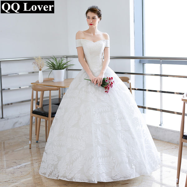QQ Lover 2018 Lace Ball Gown Wedding Dress Off the Shoulder Vintage Plus  Size Wedding Gown Bridal Gown