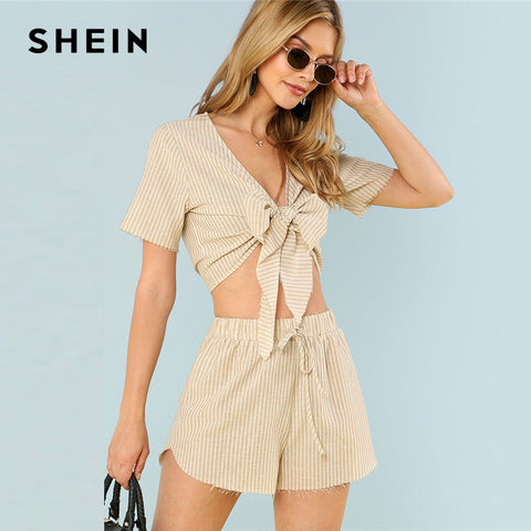 SHEIN Multicolor Vacation Boho Bohemian Beach Striped V Neck Short Sleeve Drawstring Crop Top With Shorts Summer Women Twopiece