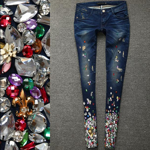 Product Image 2018 spring fashion Women Luxury Rhinestones Diamond Denim  Jeans Women Stretch ... c38a39d5f0ec