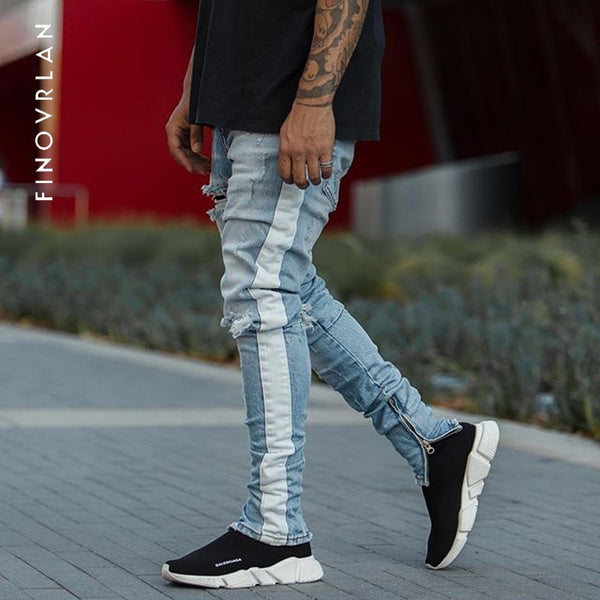 2018 spring New Arrival Jeans Men Patchwork hole Denim skinny Biker Trouser Slim Fit Fear of God High Quality Striped trousers