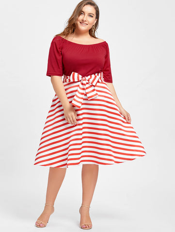 Gamiss Plus Size 5XL Boat Neck Short Sleeves Stripe Belted Midi Dress  Vintage Rockabilly Robe Mujer ca0a73f4de57