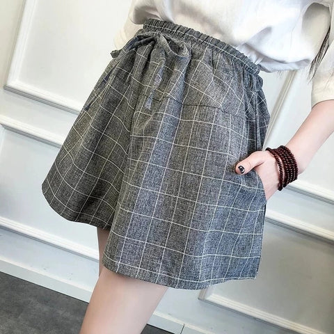 Shorts Women's Cotton Summer New Style Skirt Plaid Shorts Korean Casual Wide Leg Skirt Students Large Size Hot shorts Women