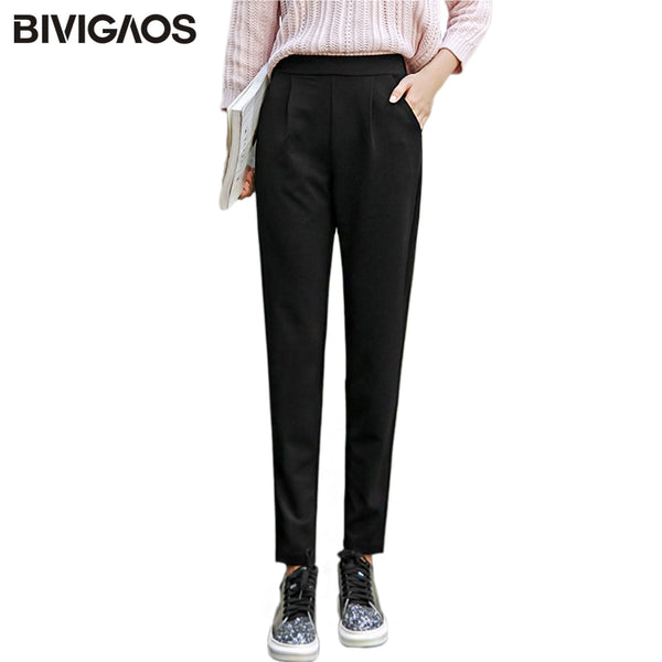 BIVIGAOS 2018 Spring Summer New Ladies Korean OL Black Harem Pants Breathable Thin Casual Pencil Pants Simple Trousers Women