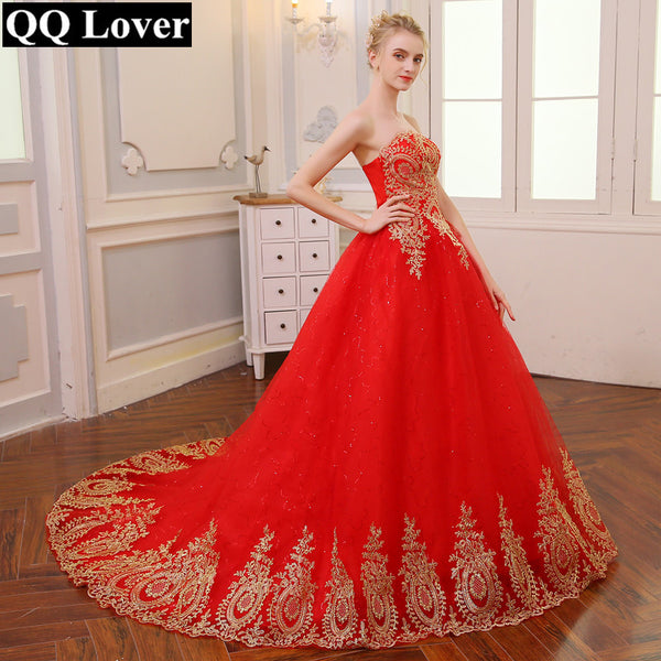 QQ Lover 2018 Vintage Lace Red Wedding Dresses Long Train Plus Size Ba