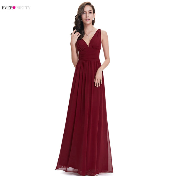 Ever Pretty New Arrival Bridesmaid Dresses Women Burgundy A-line Cheap Sleeveless Long Chiffon Wedding Guest Party Dresses 07416