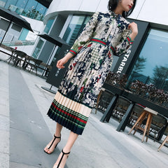 QYFCIOUFU 2018 Summer Pleated Dress Women Long Sleeves High Quality Designer Runway Floral Print Bow Fashion Casual Long Dress