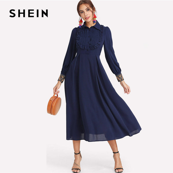 d08d5385b4 SHEIN Navy Elegant Embroidery Pleated Stand Collar Bishop Long Sleeve