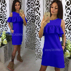 2018 Solid 5 Colours Cold Shoulder Ruffles Embellishment Summer Dress O-Neck Butterfly Sleeve Casual Dress Party Mini Dresses