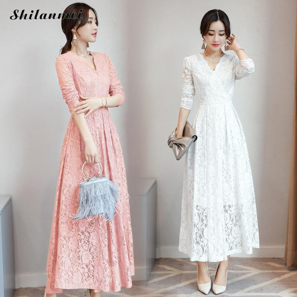 Women long sleeve pink black blue white lace dress fashion elegant long  maxi dress 2018 autumn korean plus size party vestidos