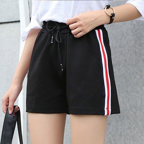 Shorts Women's 2018 Summer New Korean Elastic Waist Loose Large Size Thin Women's Casual Shorts