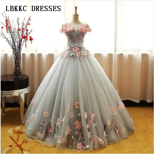 9e2fdc45b554a Grey Green Quinceanera Dresses Puffy Tulle With Pink Flowers Lace Prom  Sweet 16 Dresses Ball Gowns Vestidos De 15 Anos Baile