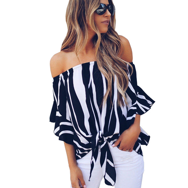 710c1437b64bc Product Image womens tops and blouses 2018 summer blouse casual chiffon  shirt Striped off shoulder top Slash neck ...