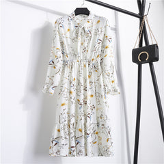 NIJIUDING Summer Autumn Chiffon Print Dress Casual Cute Women floral Long Bowknot Dresses Long Sleeve Vestido S-XL Size