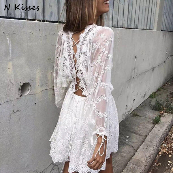 1e53d1dbe3 2018 Spring Long Sleeve White Embroidery Lace Mini Dress Backless Cute