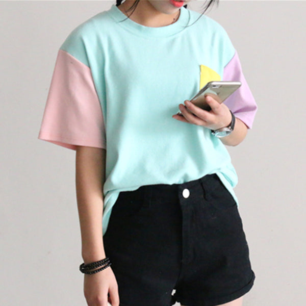 5f8ce71061ecf 2018 Summer New Style Fashion Women Harajuku Patchwork T Shirts Kawaii  Casual Cotton Spell Color Patchwork De Mujer