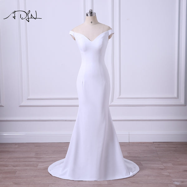 ADLN 2018 New Arrival Simple Wedding Dress V-neck Mermaid Bridal Gown Plus  Size Vestidos de Casamento Garden Bride Dress