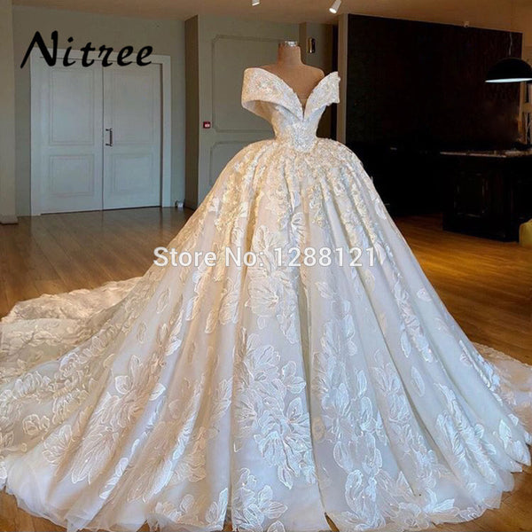 Arabic Muslim Ball Gown Wedding Dresses Turkish Dubai Lace Off The Sho