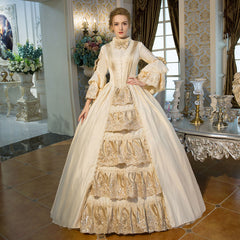 Customized 2018 Hot Sale champagne Bow Dance Party Dress 18th Century Queen Victorian Marie Antoinette Period dress