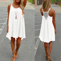 Sexy Women's Summer Casual Sleeveless Evening Party Backless Beachwear Mini Dress Multiple colors female fashion loose