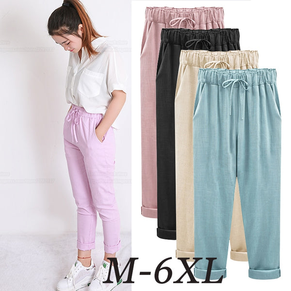 Summer Harem Pants Womens High Waist Loose Straight Nine Pants Womens Casual Trousers Large Size 6XL OL Pants Womens Slacks