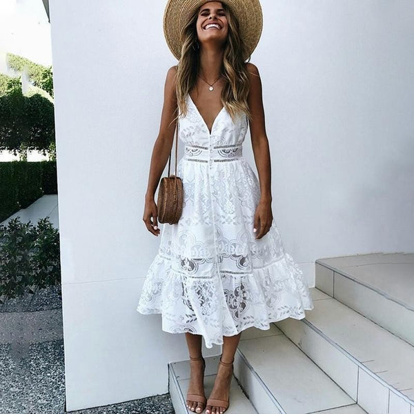 47244205a893d DeRuiLaDy Women Sexy V Neck Button Lace Dress Strap Backless Summer Long  Dresses Female Casual White Maxi Dress Vestidos 2018